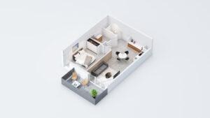 Bleu d'Eole à Gigean, appartement T2 avec terrasse
